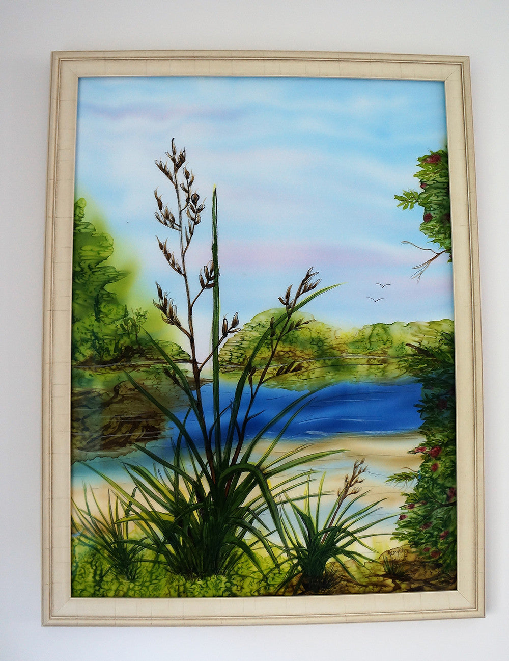 Flax and Lake Painting