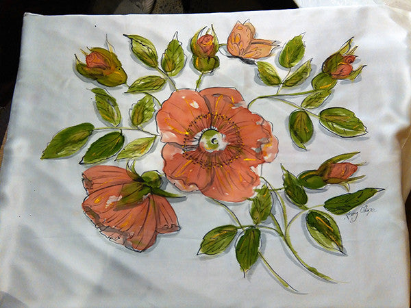 Wild Rose pillowcase in antique sienna