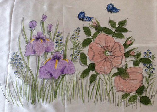 Irises, Forget Me Knots and Rose Pillowcase