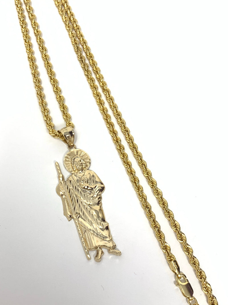 San Judas 14k real gold! 2 inch  ( pendant or chain set )