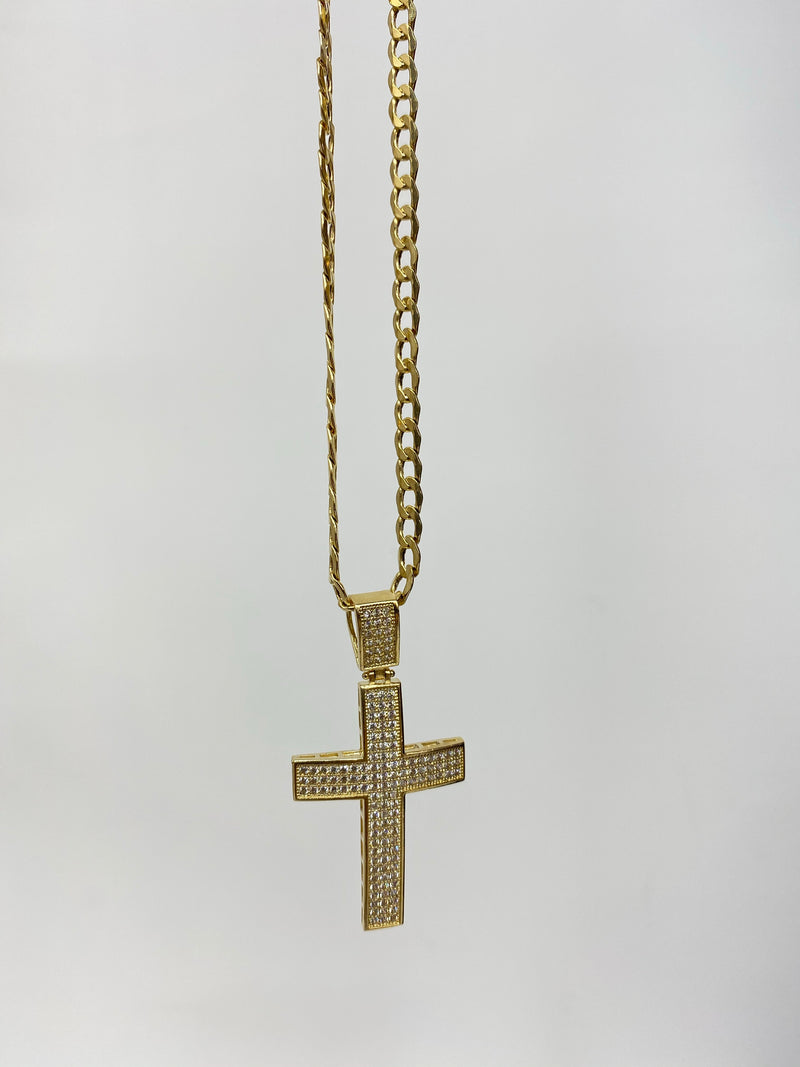 Cross with stones iced out 14k real gold( pendant or chain set )