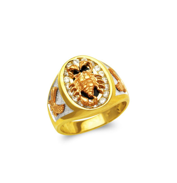 Scorpion ring with CZ , 14k real gold ring ( custom made )