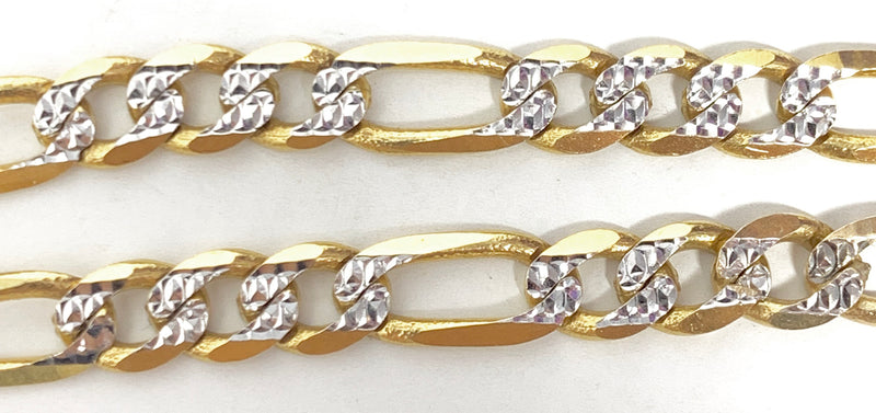 14k real gold! Figaro Bracelet with diamond cut 12.8 grams 8 inch