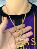 Anchor with jesus 14k real gold! Medium  ( pendant or chain set )