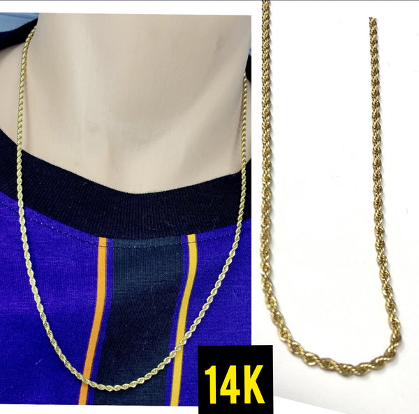 14k real gold rope chain 2mm