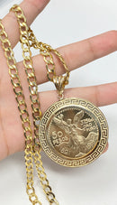 Real gold centenario 14k real gold ! Aztec bezel Pendant or chain set