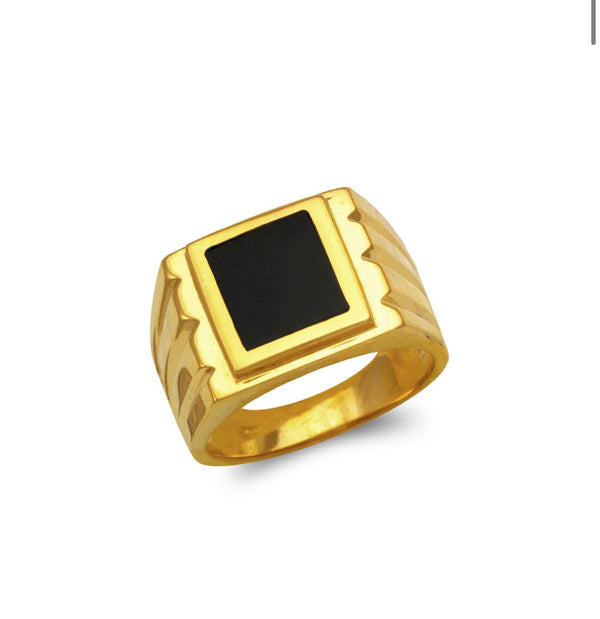 Black stone ring , 14k real gold ring ( custom made )