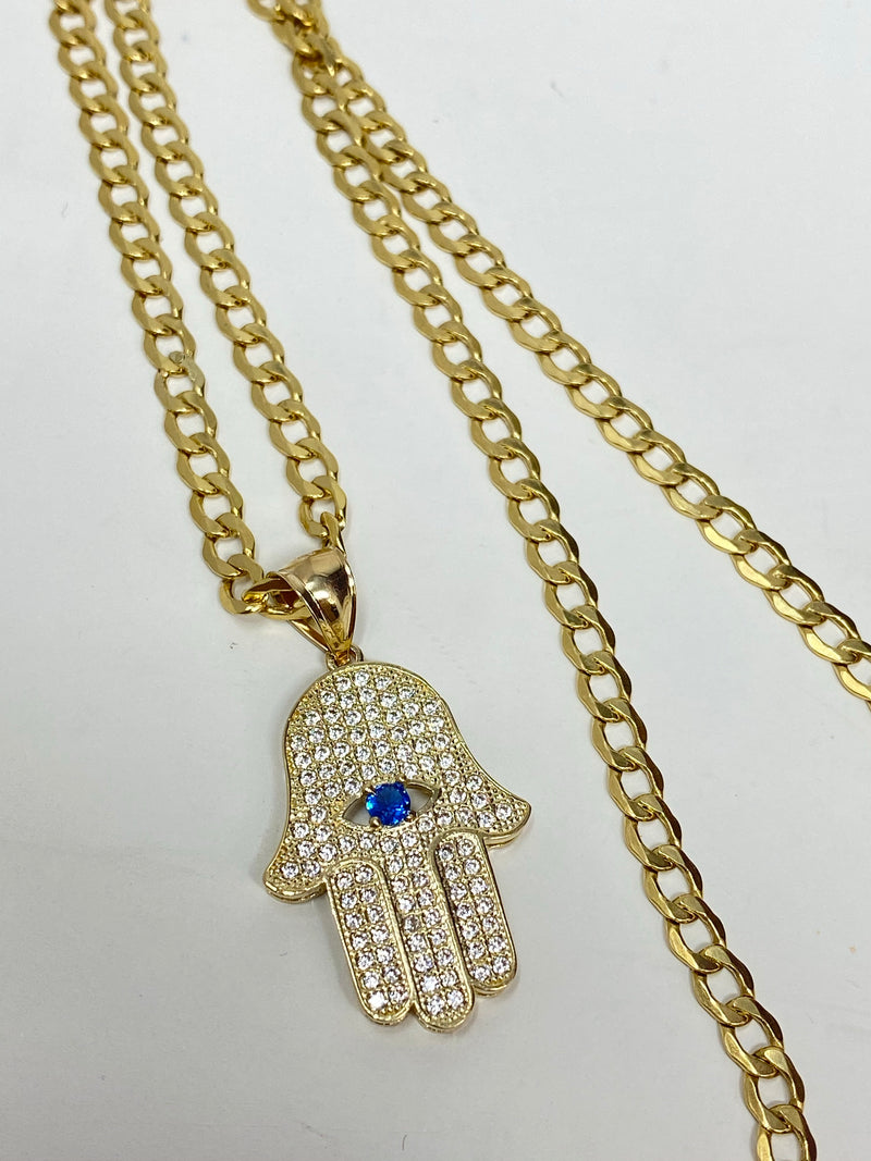 Hamsa hand with stones , iced out 14k real gold!  ( pendant or chain set )