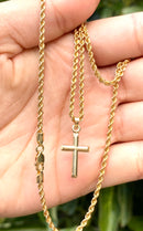 14k real gold Cross small pendant or chain set! Women's