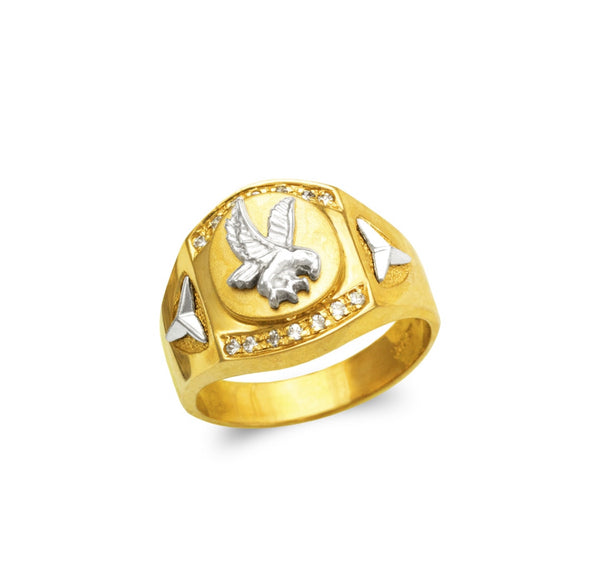 Eagle ring with stones CZ , 14k real gold ring ( custom made )