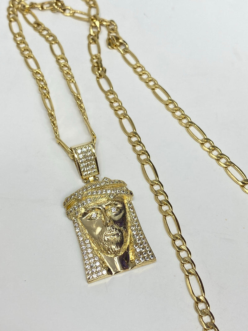 Jesus piece with stones , iced out  14k real gold!  ( pendant or chain set )