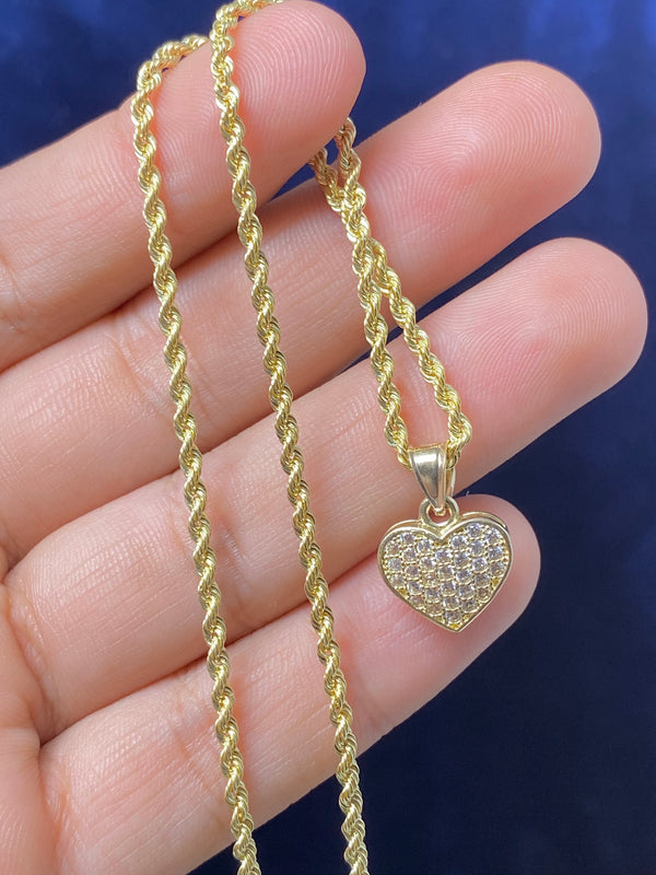 14k real gold heart with stones pendant or chain set! Women's ( 14k real gold ! )