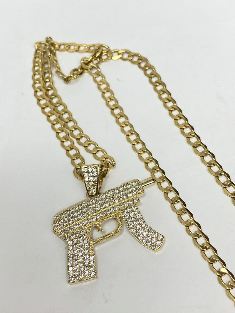 uzi gun with stones , iced out 14k real gold!  ( pendant or chain set )