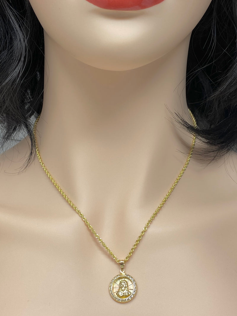 14k real gold Jesus 3 tone pendant or chain set! Women's ( 14k real gold ! )