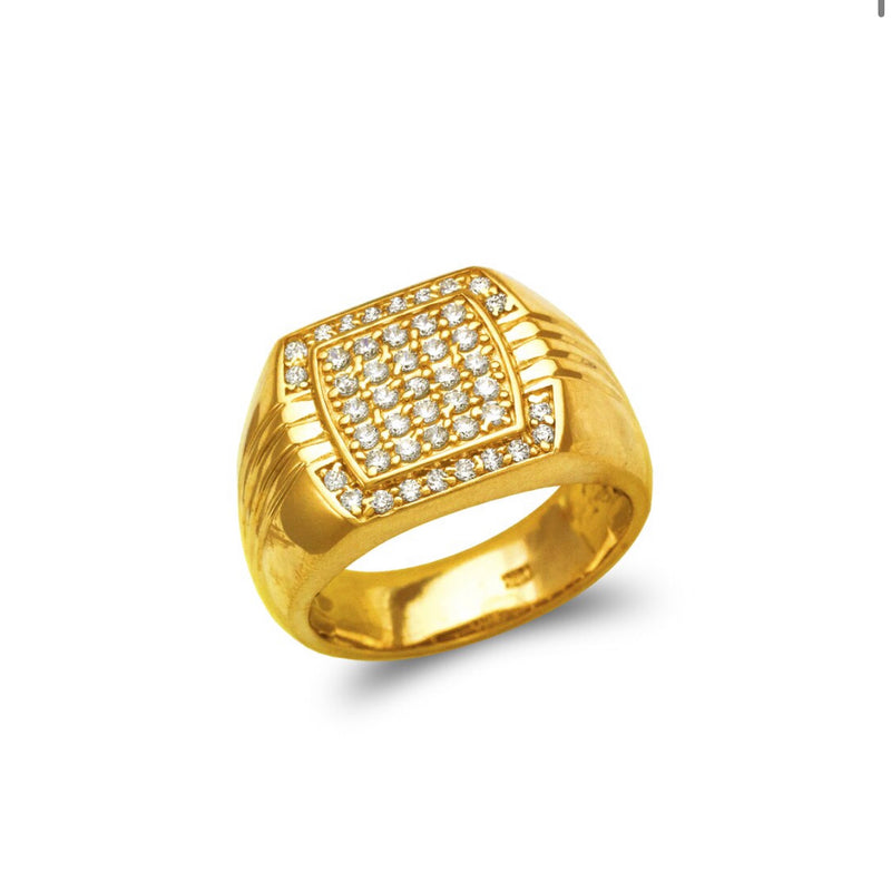 Bust down ring with stones Cz  , 14k real gold ring ( custom made )