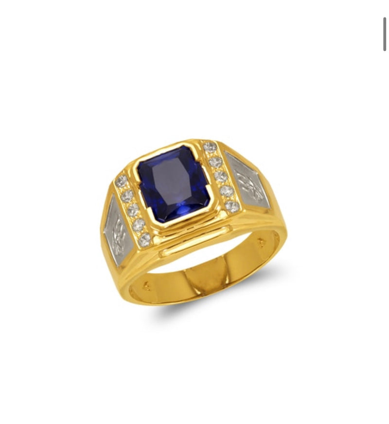sapphire ring with CZ , 14k real gold ring ( custom made )