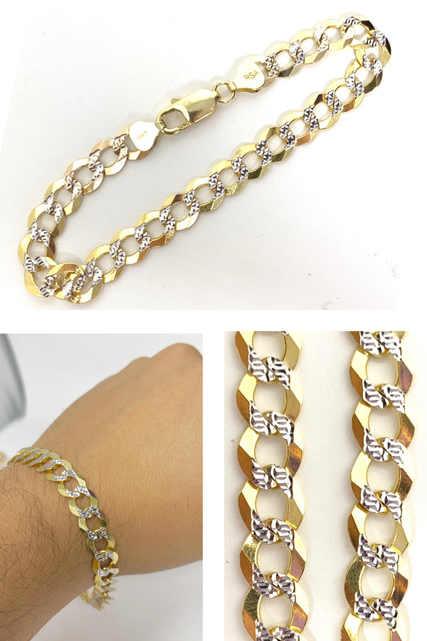 14k real gold ! Cuban Bracelet with diamond cut 13 grams 7.5 inch