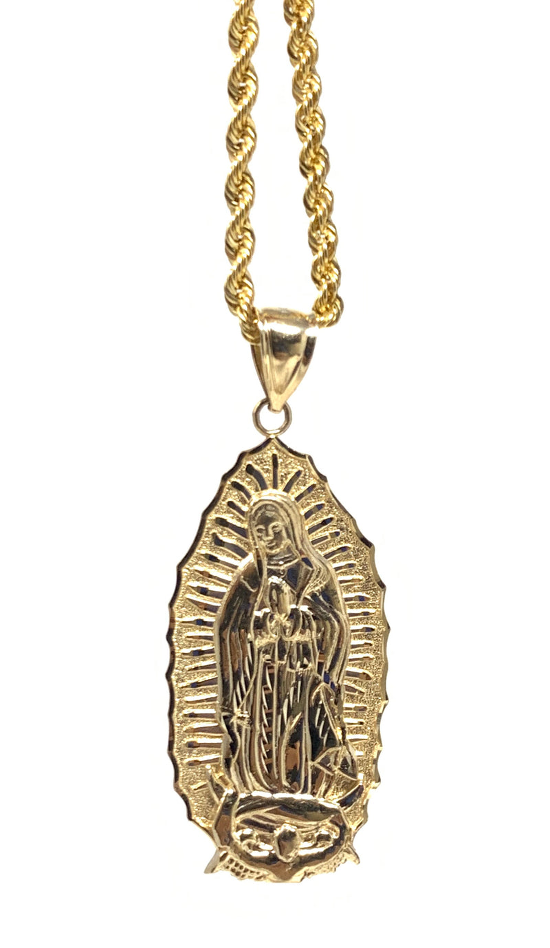 Virgin Mary 14k real gold! Medium  ( pendant or chain set )