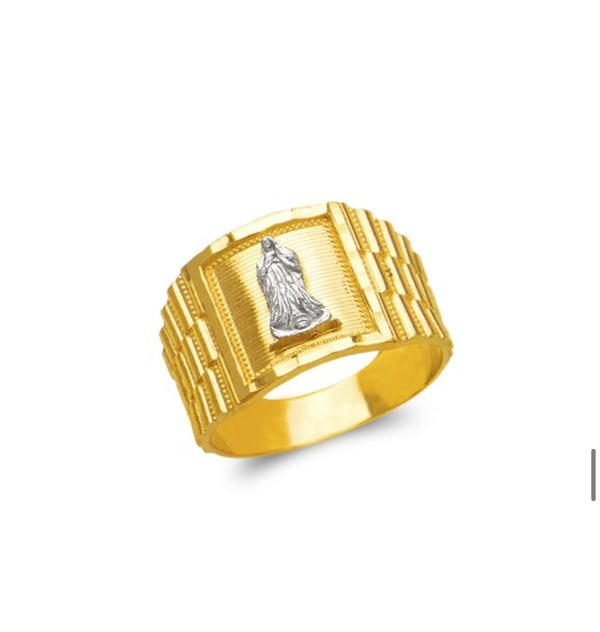 Virgin Mary men's  ring , 14k real gold ring ( custom made )