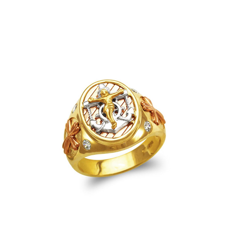 Jesus with anchor ring ,  14k real gold ring ( custom made )