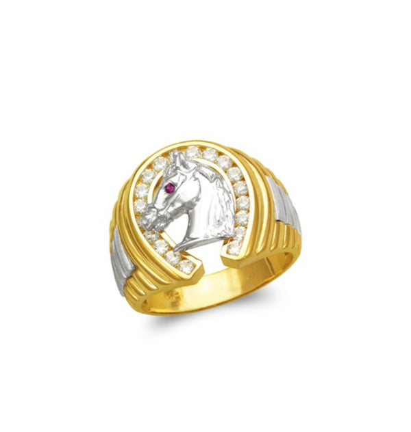 Horse ring with CZ , 14k real gold ring ( custom made )