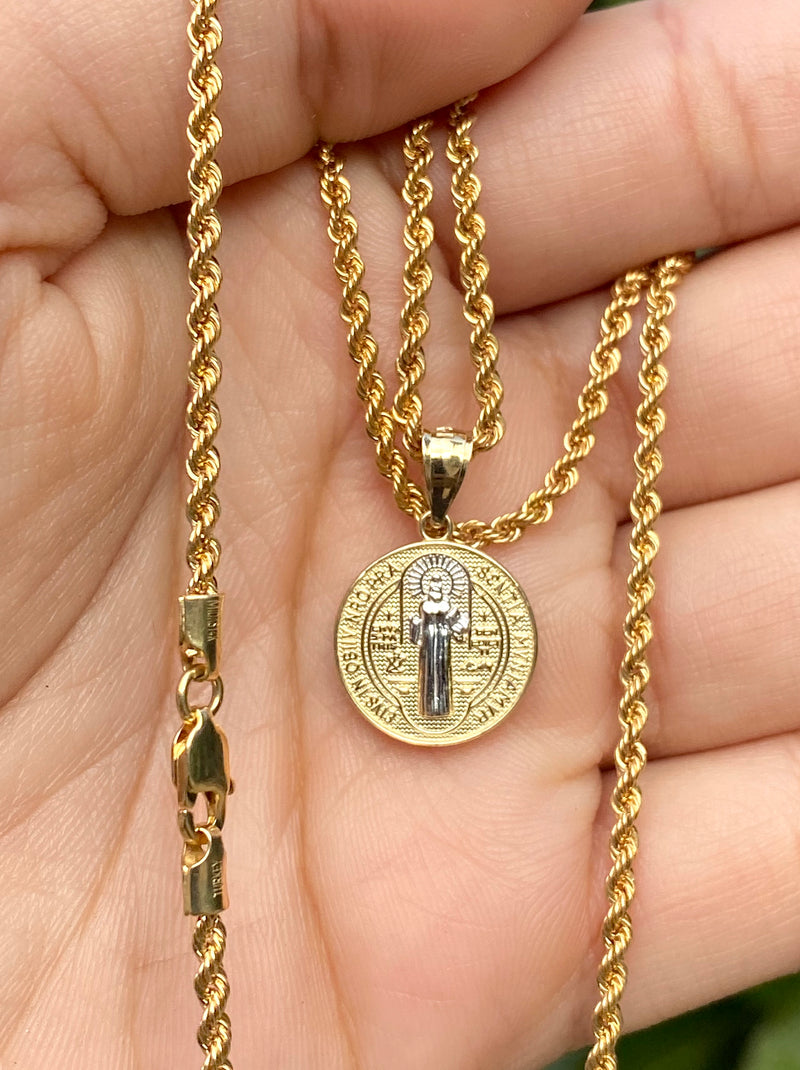 San Benito 2 tone small pendant or chain set! Women's ( 14k real gold ! )