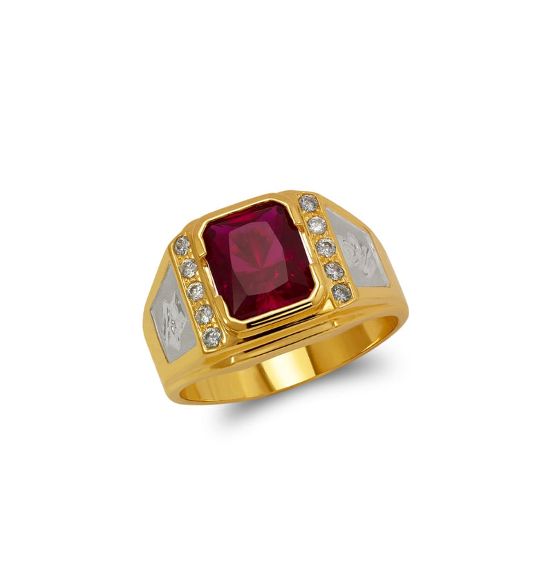 Ruby ring with cz , 14k real gold ring ( custom made )