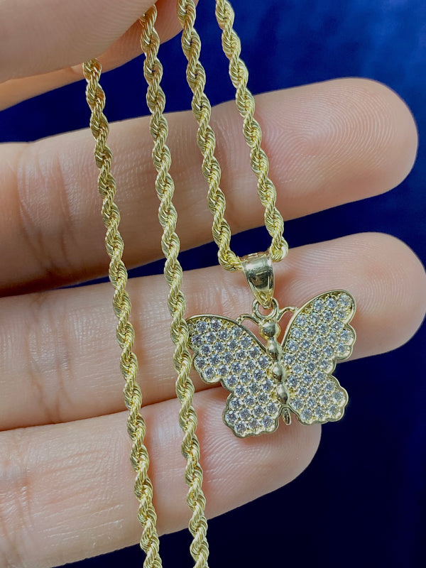 14k real gold butterfly with stone pendant or chain set! Women's ( 14k real gold ! )