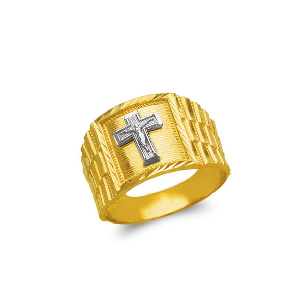 Cross ring , 14k real gold ring ( custom made )