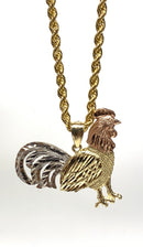 Rooster , Gallo 3 tone  14k real gold!  ( pendant or chain set )