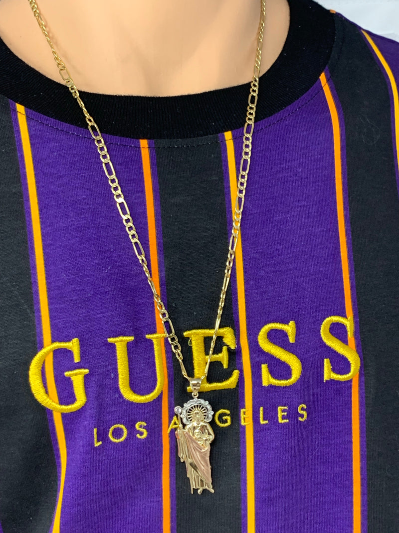 San Judas 3 tone with stones 14k real gold! Medium  ( pendant or chain set )