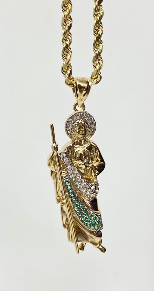 San Judas with stones small 14k real gold!  ( pendant or chain set )
