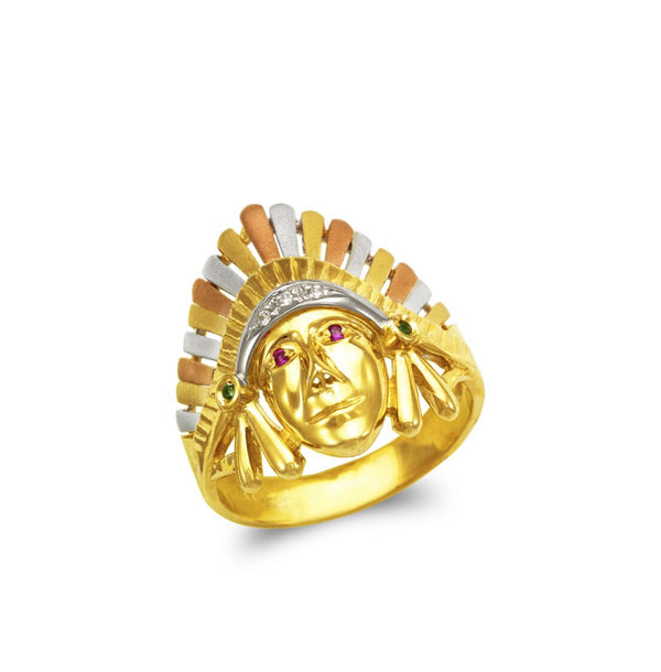 Indian chief with stones  CZ , 14k real gold ring ( custom made )