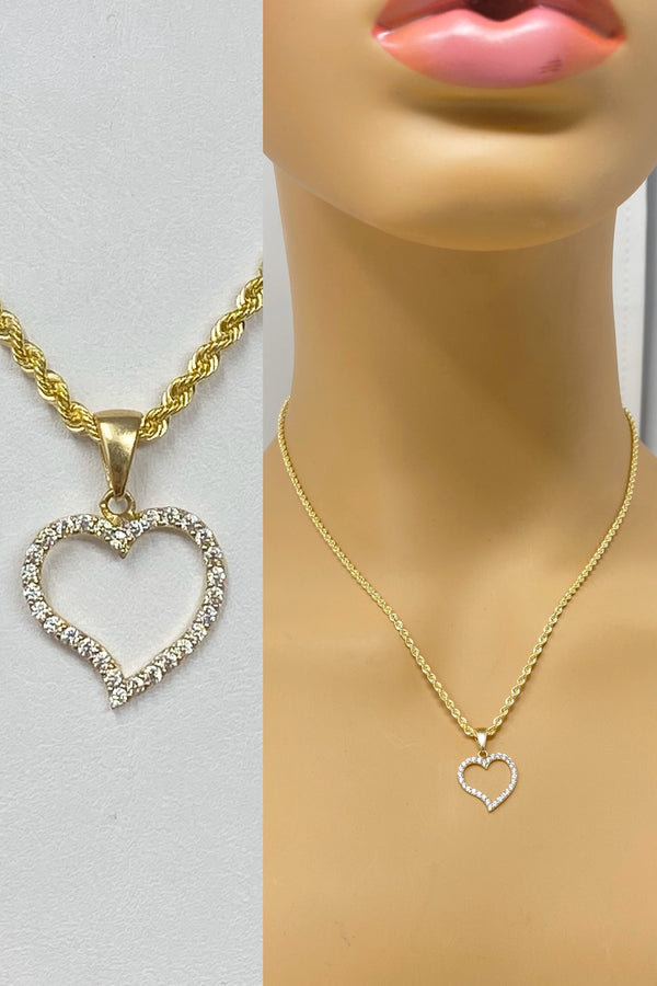 14k real gold heart with stones small pendant or chain set! Women's