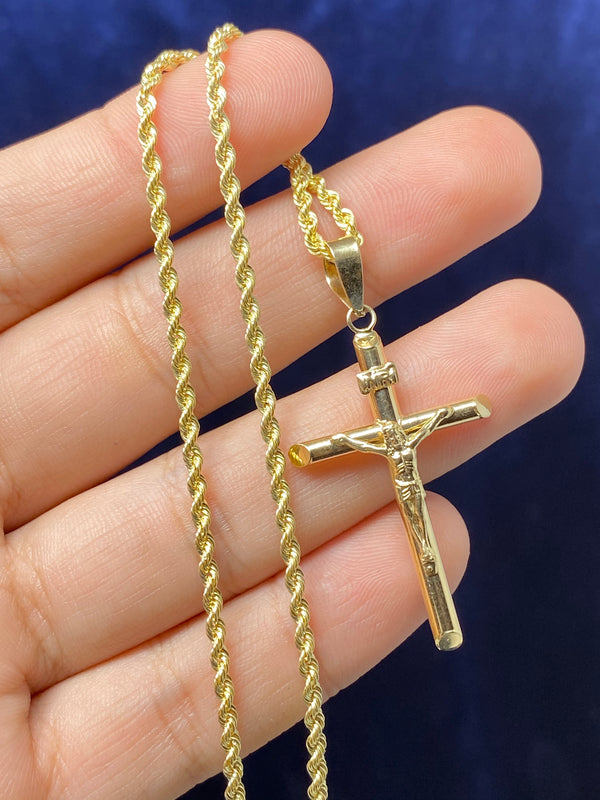 14k real gold cross with Jesus Pendant or chain set! Women's ( 14k real gold ! )