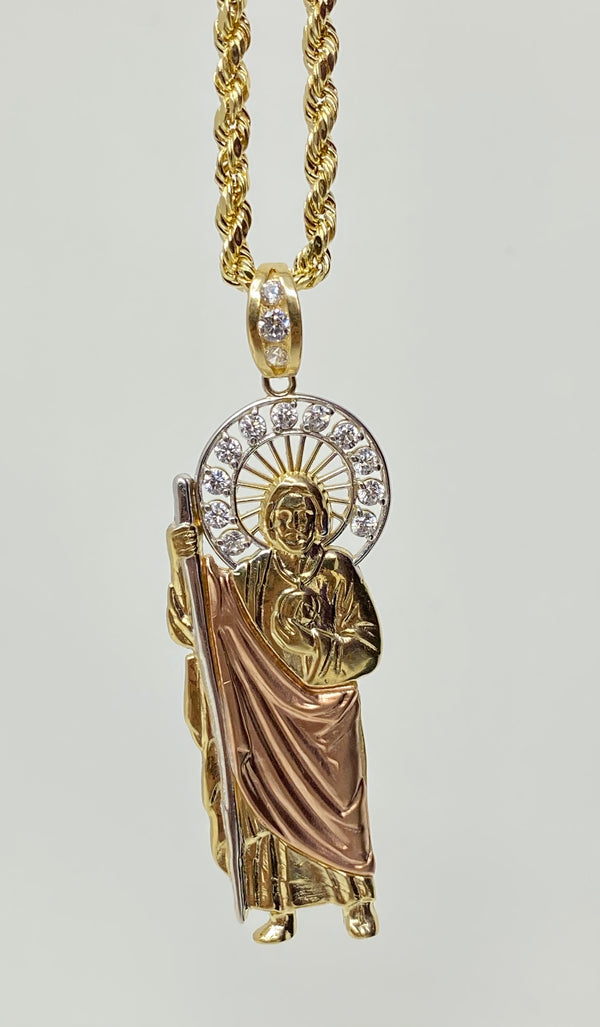 San Judas 3 tone with Stones 14k real gold!  ( pendant or chain set )