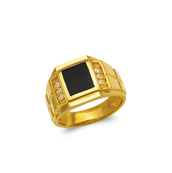 Black stone ring with stones CZ  , 14k real gold ring ( custom made )
