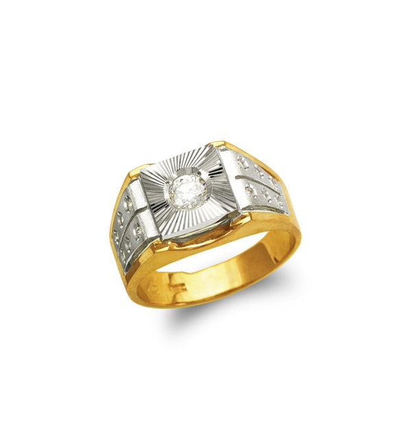 14k real gold ring men's fancy ring CZ ( custom made )