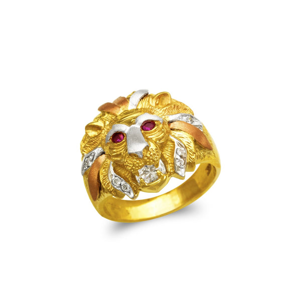 Lion head ring with stones CZ , 14k real gold ring ( custom made )