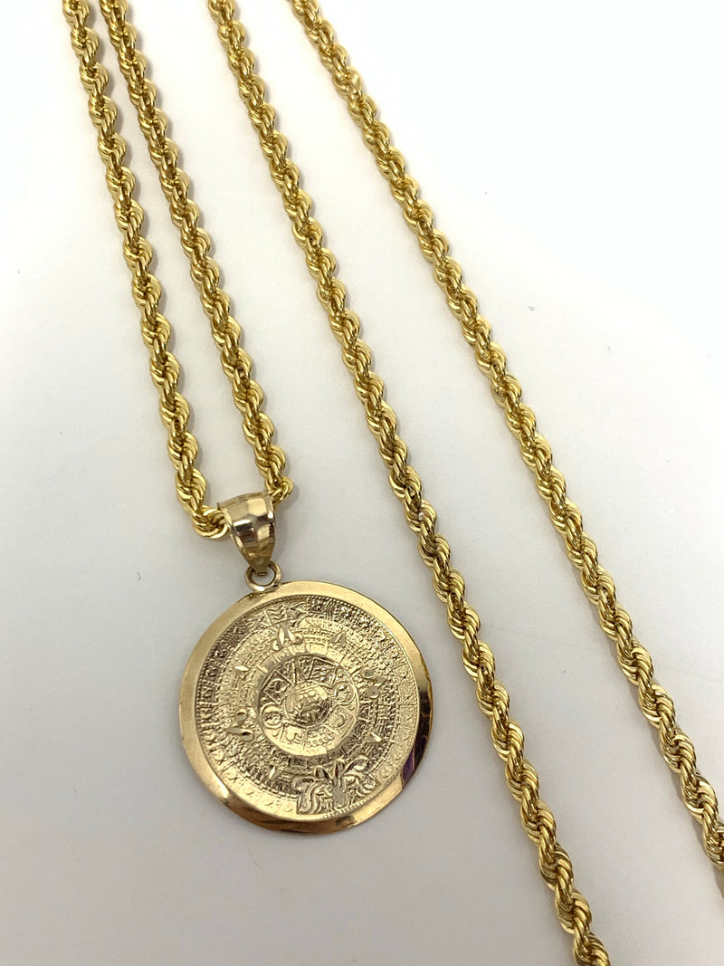 Aztec calendar 14k real gold! Medium  ( pendant or chain set )