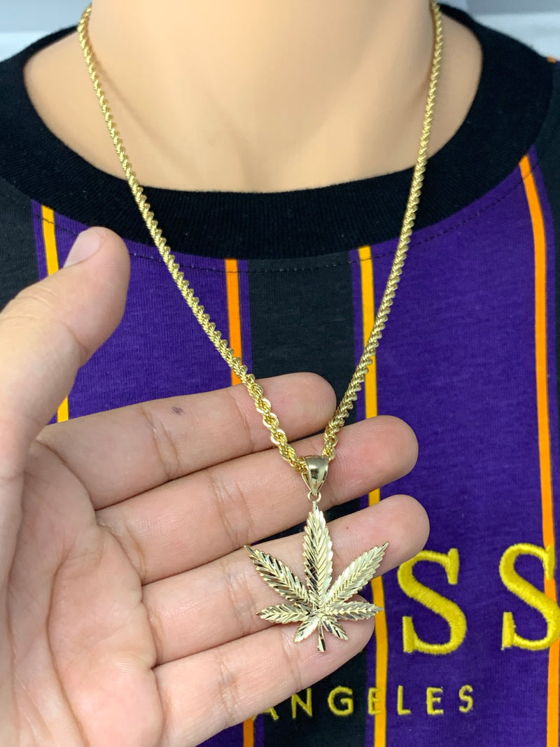 Weed plant 14k real gold! ( pendant or chain set )
