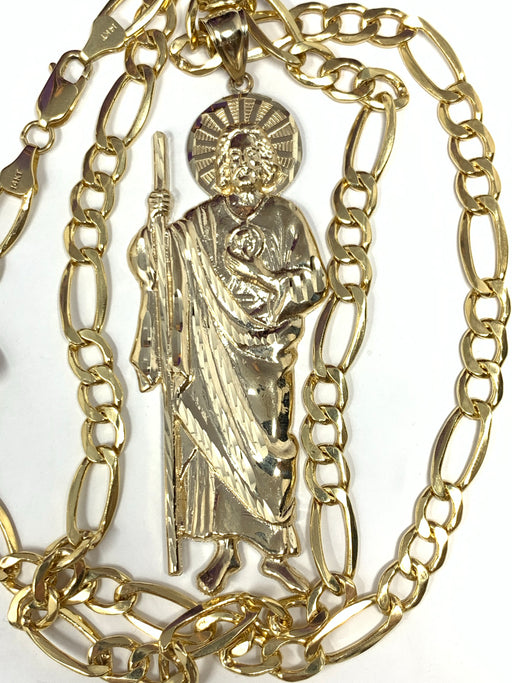 14k real gold! Big San Judas with chain or just pendant