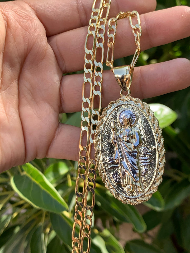 14k real gold double sided San Judas and Virgin Mary ( Custom made ) !!
