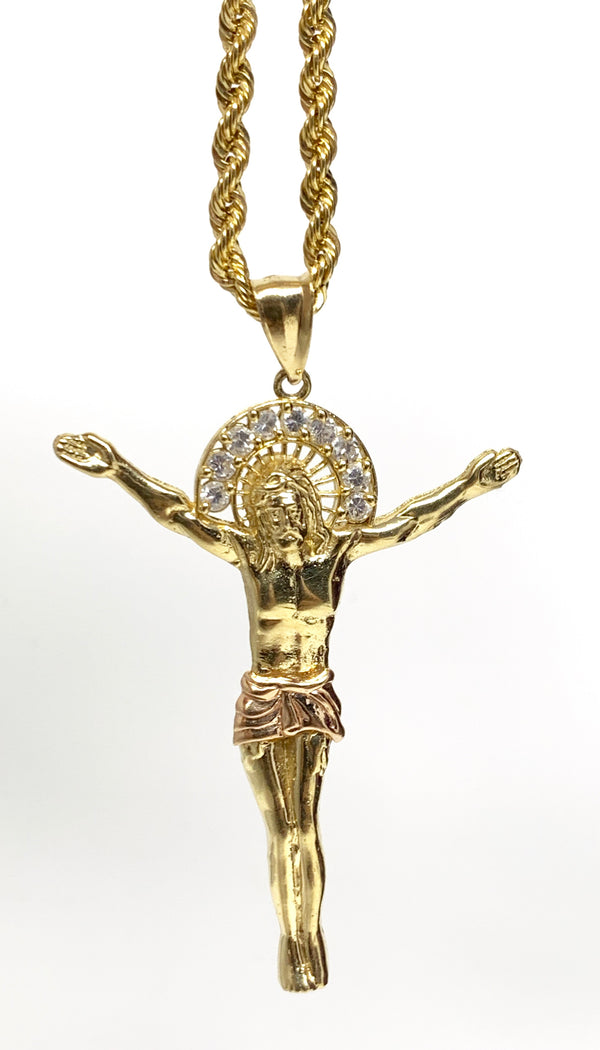 Jesus with stones 3 tone 14k real gold!  ( pendant or chain set )
