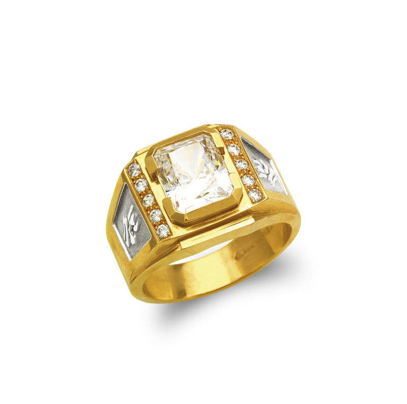 Big stone ring with cz , 14k real gold ring ( custom made )