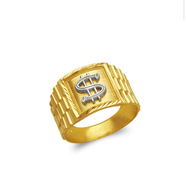 Money sign ring , 14k real gold ring ( custom made )