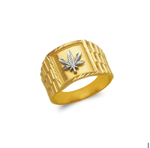 Weed ring , 14k real gold ring ( custom made )