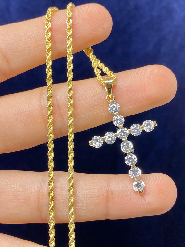 14k real gold cross with stones pendant or chain set! Women's ( 14k real gold ! )