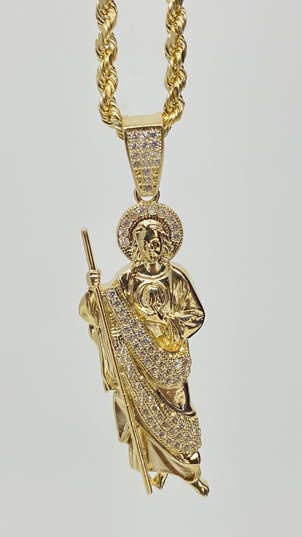 San Judas with stones 14k real gold!  ( pendant or chain set )