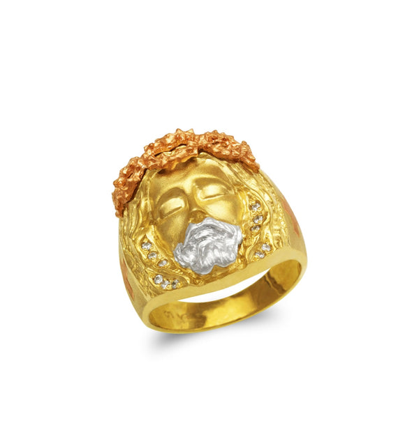 Jesus face ring with stones  CZ , 14k real gold ring ( custom made )